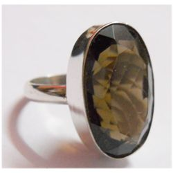NATURAL 36.70 CTW SEMIPRECIOUS RING .925 STERLING SILVE