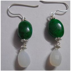 Natural 31.40ct Emerald/Semi Precious Earring .925 Ster