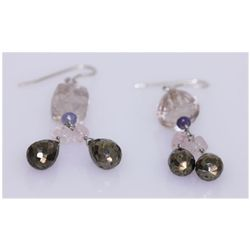 NATURAL 39.60 CTW TANZANITE/SEMIPRECIOUS EARRING .925 S