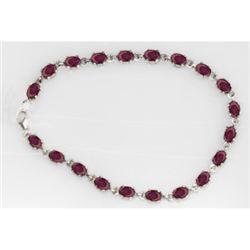 NATURAL 15.00 CTW RUBY OVAL BRACELET .925 STERLING SILV