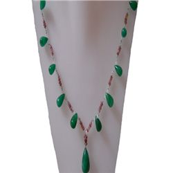 Natural 113.40ct Emerald,Semi Precious Necklace .925 St