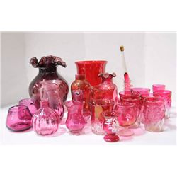 Lot of 15 pieces cranberry glass