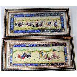 2 hand painted framed plaques