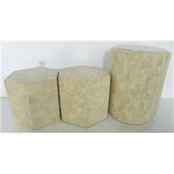 Lot of 3 contemporary faux marble pedestals
