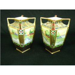 Pair Nippon 4 handle vases
