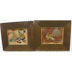 "Pair gold embroidered ""Birds"" in oak frames"