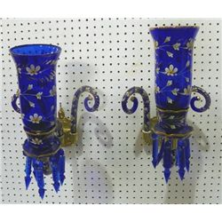 Pair cobalt glass & enamel painted sconces
