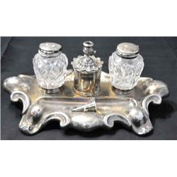 Silver plated & glass Victorian inkwell