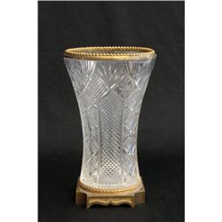 Bronze & cut crystal vase