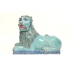 "Old blue glazed terracotta ""Seated Lion"""