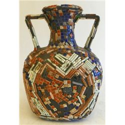 Unusual glass vase with mosaic appliques