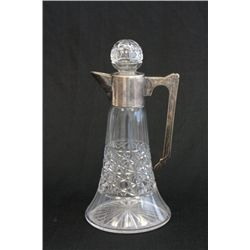 Etched & cut glass claret jug