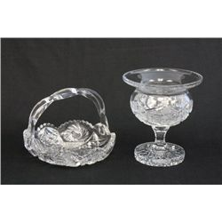 Cut glass bowl & candy dish