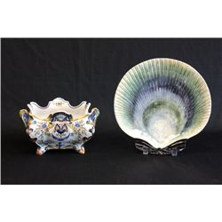 French Majolica planter & Majolica shell plate