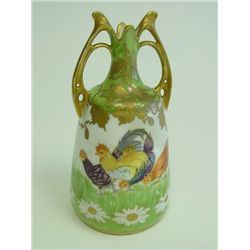 "German porcelain vase depicting ""Chickens"""