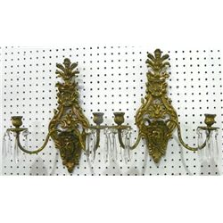 Pair brass figural sconces with crystal drops