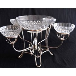 Silver plate & crystal epergne