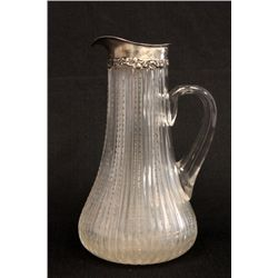 Crystal & sterling silver rim pitcher