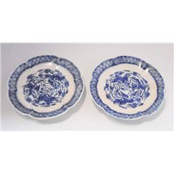 Rare pair Kangxi blue & white saucers