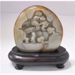 "Fine carved jade ""Landscape Mountain"""
