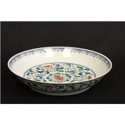 "Beautiful Doucai dish depicting ""Flowers"""