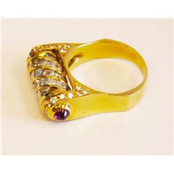 18kt gold, diamond & ruby ring