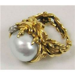 Gilbert Albert 18kt gold, pearl & diamond ring