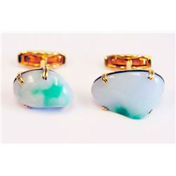 18kt yellow gold & jade cufflinks