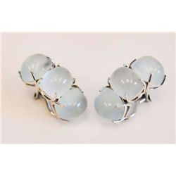 Pair Moonstone earrings signed Seaman Schepps