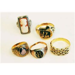 5 gold rings approx. 18.3 dwts