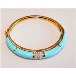 18kt yellow gold, turquoise & diamond bracelet