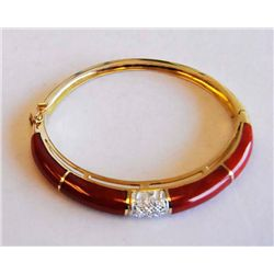 18kt yellow gold, coral & diamond bracelet
