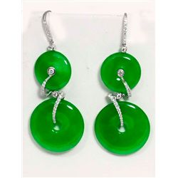 Pair green jade & diamond earrings