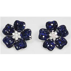 18kt gold, diamond & sapphire earrings
