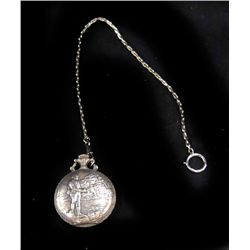Figural silver plate pocket watch