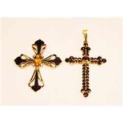 2 14kt gold crucifixes
