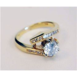 14kt yellow gold & diamond engagement ring