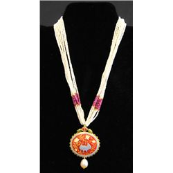 Antique Indian ruby, pearl & enamel necklace