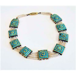 Antique turquoise & enamel necklace