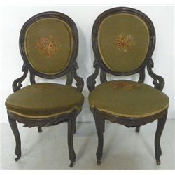 Pair needlepoint Victorian slipper chairs