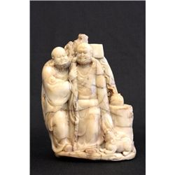 Daoguang carved soapstone figures 2 Monks
