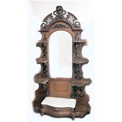 Carved walnut marble top etagere