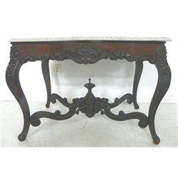 Rococo marble top rosewood center table