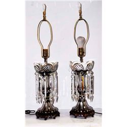Pair red cut to clear lustre lamps
