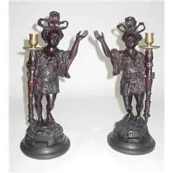 Pair Nubian left & right candlesticks