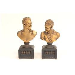 Pair bronze busts signed O. Gladenback 1882