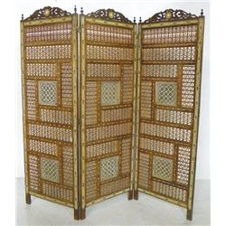 Moorish style triple fold wooden floor screen