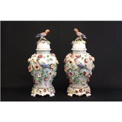 Pair Dresden covered ginger jars