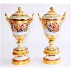 Pair 19th c. Royal Vienna handpainted urns