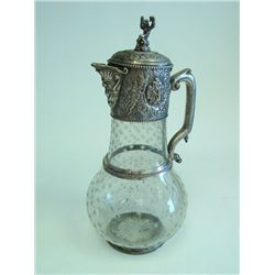 Silver plated figural & etched glass pitcher